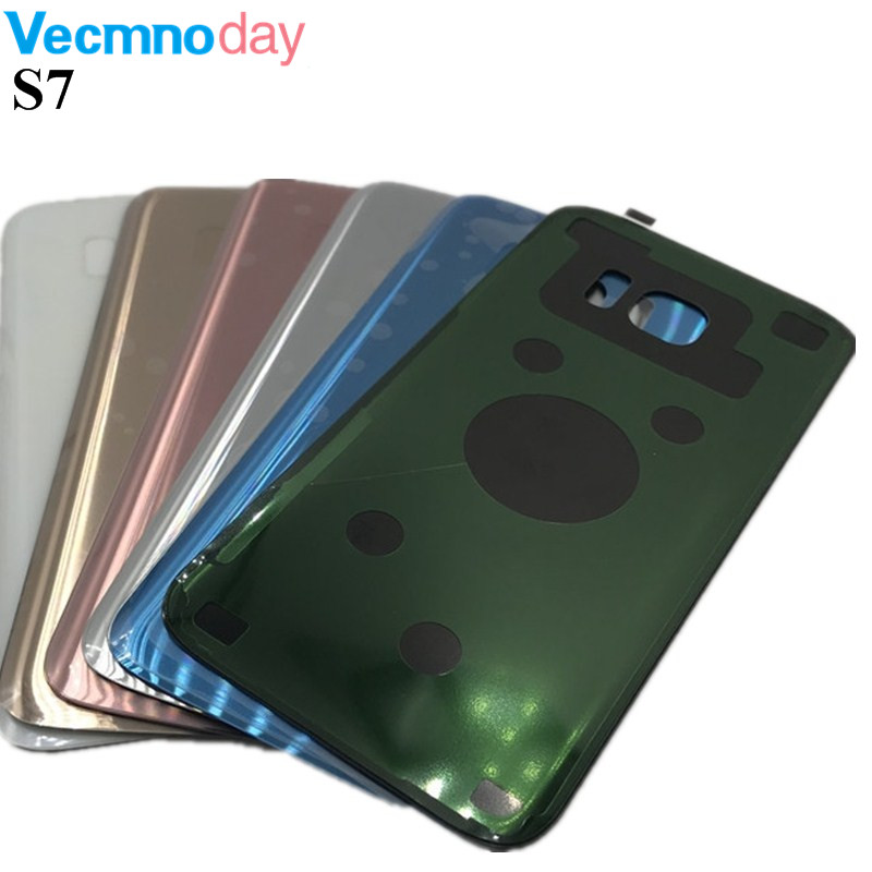 Battery Glass Back Cover for Samsung Galaxy S7 G930 S7 Edge G935 Rear Door Cover 3M Glue Replacement Repair Parts With Logo