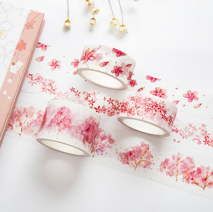 Freedom Watercolor Sakura Washi Tape Adhesive Tape DIY Scrapbooking Sticker Label Masking Craft Tape