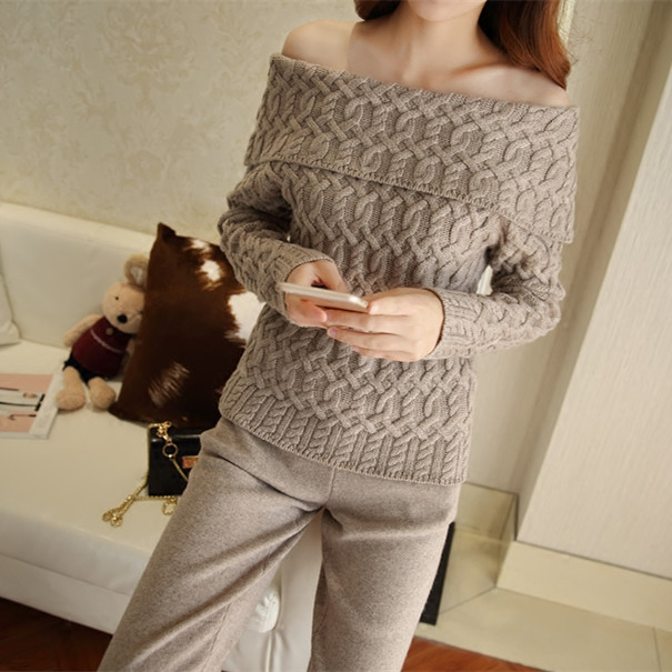 2017 new cashmere knit 2 piece set women thread collar sweater knitted pants two piece set female