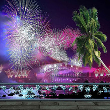 Fireworks Night 8'x8′ CP Computer-painted Scenic Photography Background Photo Studio Backdrop ZJZ-919