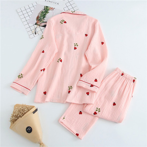 Image 4 - 2019 New Ladies Pajamas Set Cartoon Ladybug Printed Crepe Cotton Gauze Simplicity 2 Piece Set Women Soft Comfort Household Wear