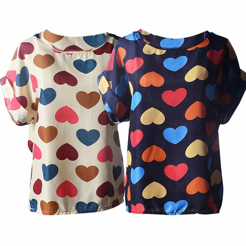 Polo Shirt Women s Short Sleeve Casual Flower Print Tropical Chiffon Shirt Love Print Top