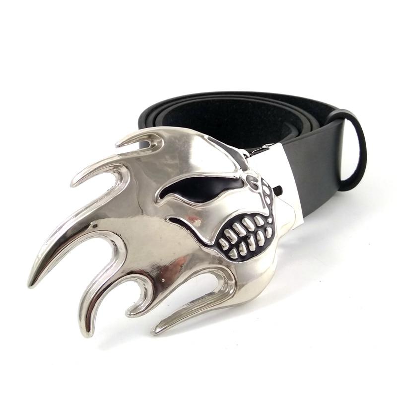 Fashion Black leather belt for jeans men with flame skull Belt buckle metal Mens belts cinturones hombre