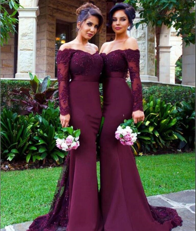 New Burgundy Mermaid   Bridesmaids     Dresses   With Appliques Beading Long Sleeves Backless Off Shoulder Sweep Train Formal Prom Gowns