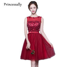Wine Red Bridesmaid Dresses Knee Length Lace Sleeveless Strapless Robe De  Mariage Short Prom Party Dress Custom Cheap Under 50 9033ee4fda8d