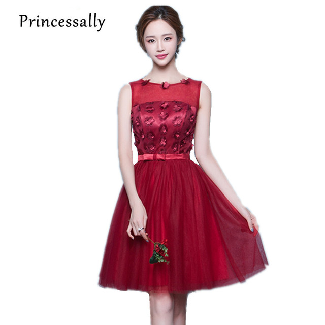 f239b853c679 Wine Red Bridesmaid Dresses Knee Length Lace Sleeveless Strapless Robe De  Mariage Short Prom Party Dress Custom Cheap Under 50