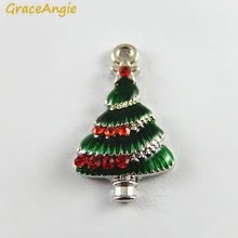 10PCS Green Red Enamel Small Christmas Tree Charms Wholesale Christmas Deco Small Handmade Craft Factory Price Accessory Jewelry(China)
