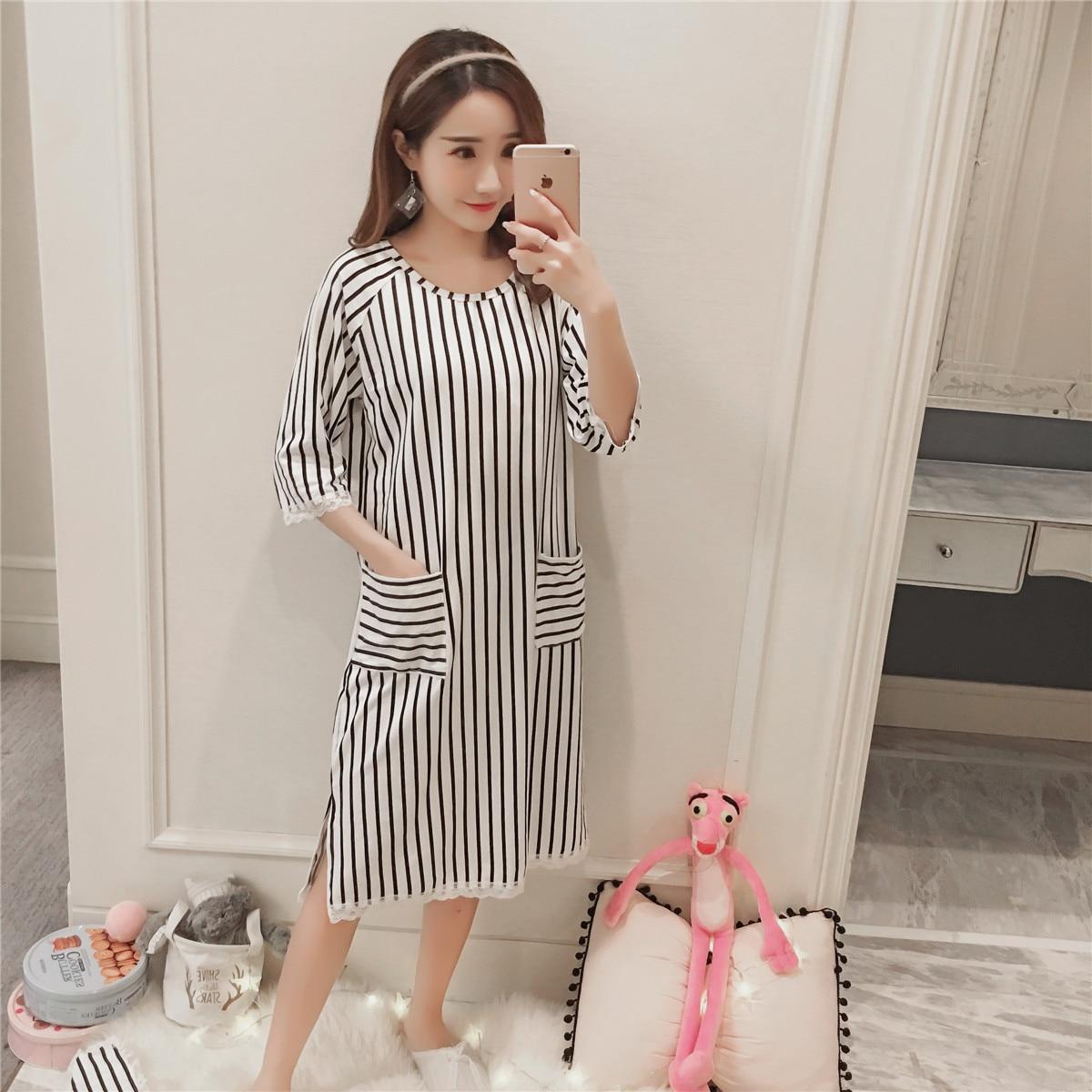 Cotton Nightgowns Sleepshirts for women 2018 Summer Homewear stripe Sleepwear Loose Comfortable Nightdress Indoor cute Clothes