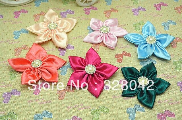 Wholesale satin flower pearl centre five petal flower fabric flowers hair accesories 150pcs/lot