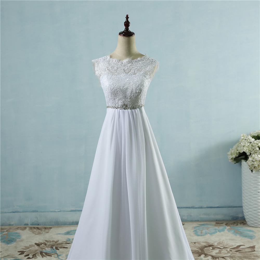 Beach Crystal Lace Applique Simple Wedding Dress