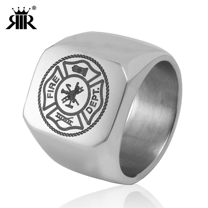 RIR Silver US Fire Dept Military Army Navy Air Force <font><b>USMC</b></font> Military <font><b>Ring</b></font> For Men's In Stainless Steel image