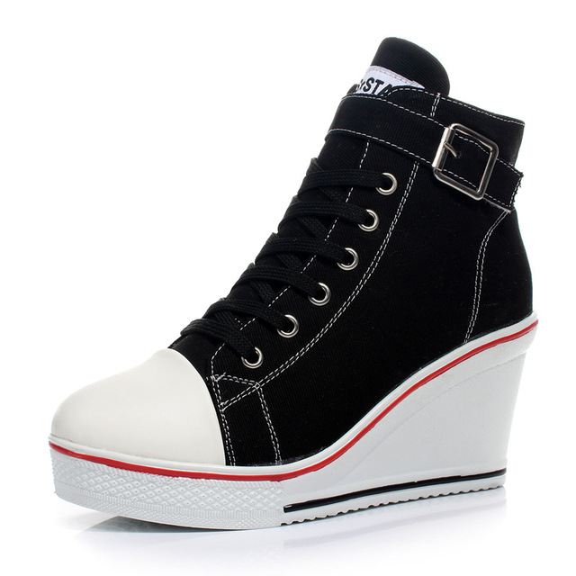 Brand Woman Casual Shoe Ladies Canvas Wedge Platform Shoes For Female Z671 tenis feminino Plus Size 35-42 Women Walking Shoes