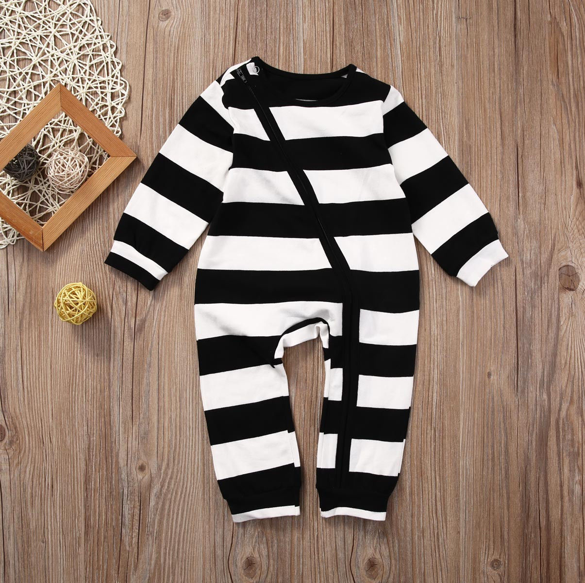 Spring Autumn Newborn Toddler Baby Boys Girls Clothes Long Sleeve Cotton Zipper Cute Striped Bodysuit Playsuit Baby Clothes