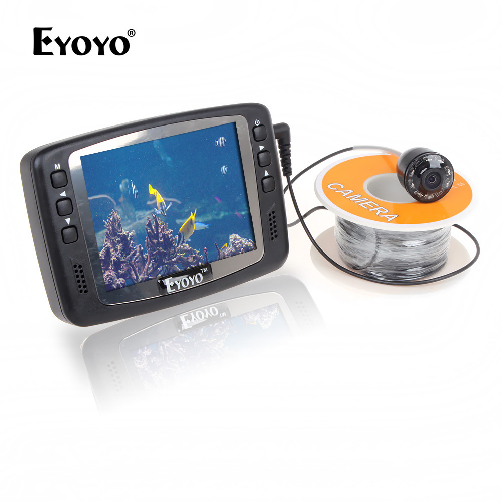 Eyoyo Original 8 IR LED 1000TVL Underwater Fishing Camera 3.5'' Color LCD Monitor 15m Cable Visual Fish Finder Mini Portable 3pcs lot eyoyo original 1000tvl underwater ice video fishing camera 15m cable fish finder 3 5 color lcd monitor fishfinder