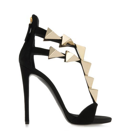 Hot Selling Women Black Flock Leather Hollow Out Sandals Gold Metal Pyramid Embellished Back Zipper High Heel Sandals Hot Selling Women Black Flock Leather Hollow Out Sandals Gold Metal Pyramid Embellished Back Zipper High Heel Sandals