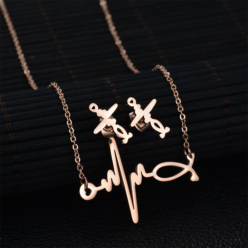 Hot fashion jewelry sets heartbeat stethoscope stainless steel hot fashion jewelry sets heartbeat stethoscope stainless steel pendant necklace earrings jewelry sets female engagement gift in jewelry sets from jewelry mozeypictures Choice Image