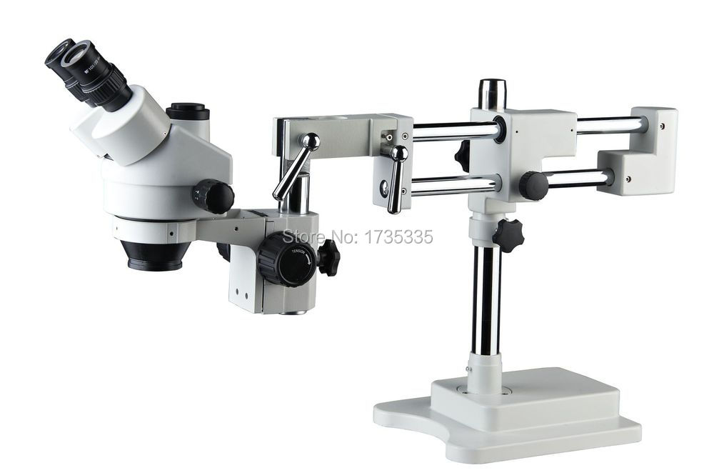 microscope world SZM-45T-STL2 7X-45X Trinocular Stereo Zoom Microscope with Double Arm Boom Stand