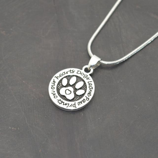 2016 Newest Cat Dog Paw Print Necklace Animal Silver  Pet Memorial Necklace Women Pendant Long Cute Delicate Statement Necklace