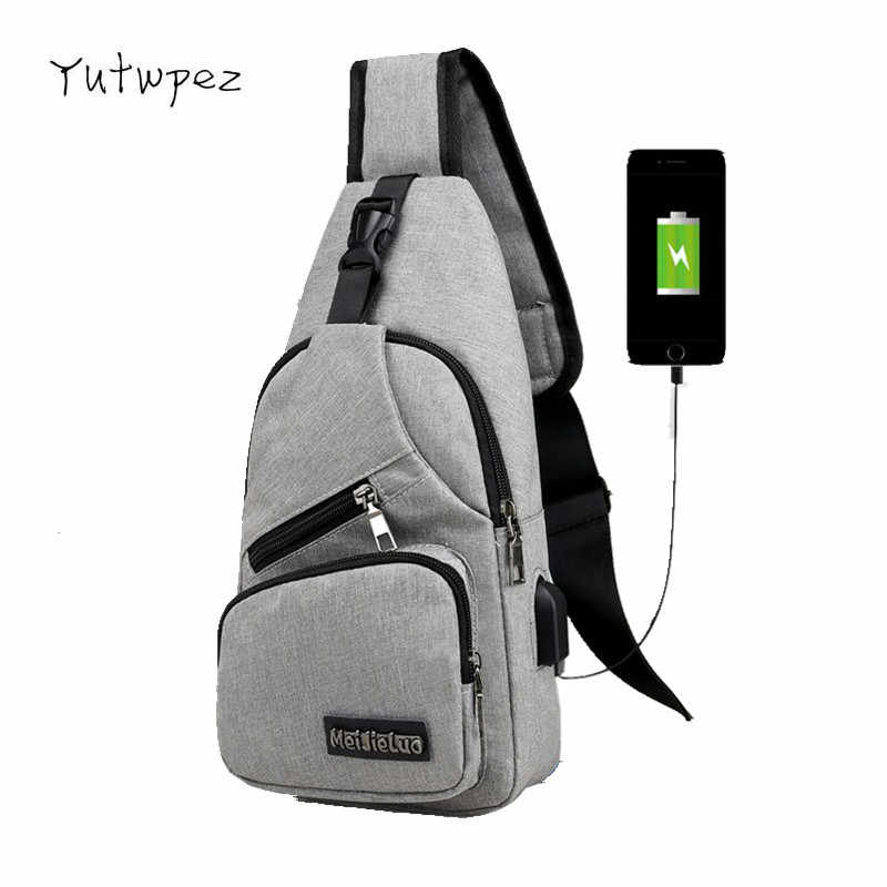 Chest Bags USB Charging 9 Colors Men's Crossbody Headphone Plug Designer Messenger Oxford Shoulder Bag Diagonal Package Travel