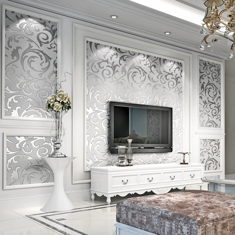 Silver Gold Leaf Wall Paper Living Room