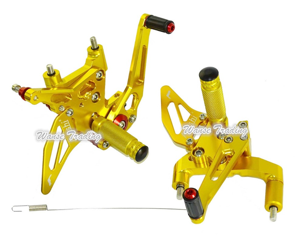 waase CNC Aluminium Adjustable Rider Rear Sets Rearset Footrest Foot Rest Pegs Gold For DUCATI 1299 Panigale/S 2015-2016