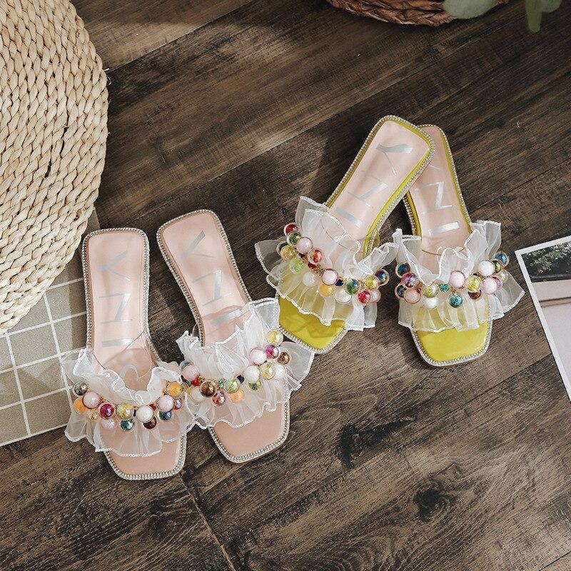 Lumière Transparent Blanc Femmes Plat Sandales Diapositives Y586 Colorée Célèbre Flip Pantoufles Ruches yellow Designer Dentelle Pink Flops Ampoule Cristal x1fnYqwFB
