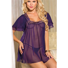 Square Cut Neckline Foil Lace Trim and Matching Thong Lingerie Babydoll Nighty Sleeping Wear Sexy Purple Intimate L2700-2