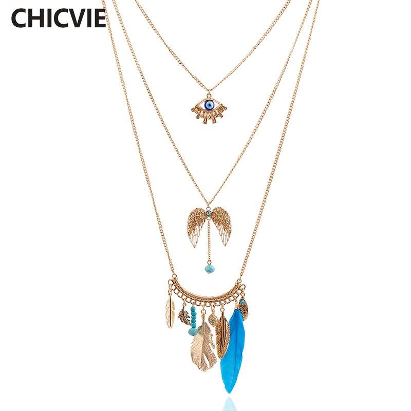 CHICVIE többrétegű test-fülbevaló nyaklánc toll lánc arany - Divatékszer