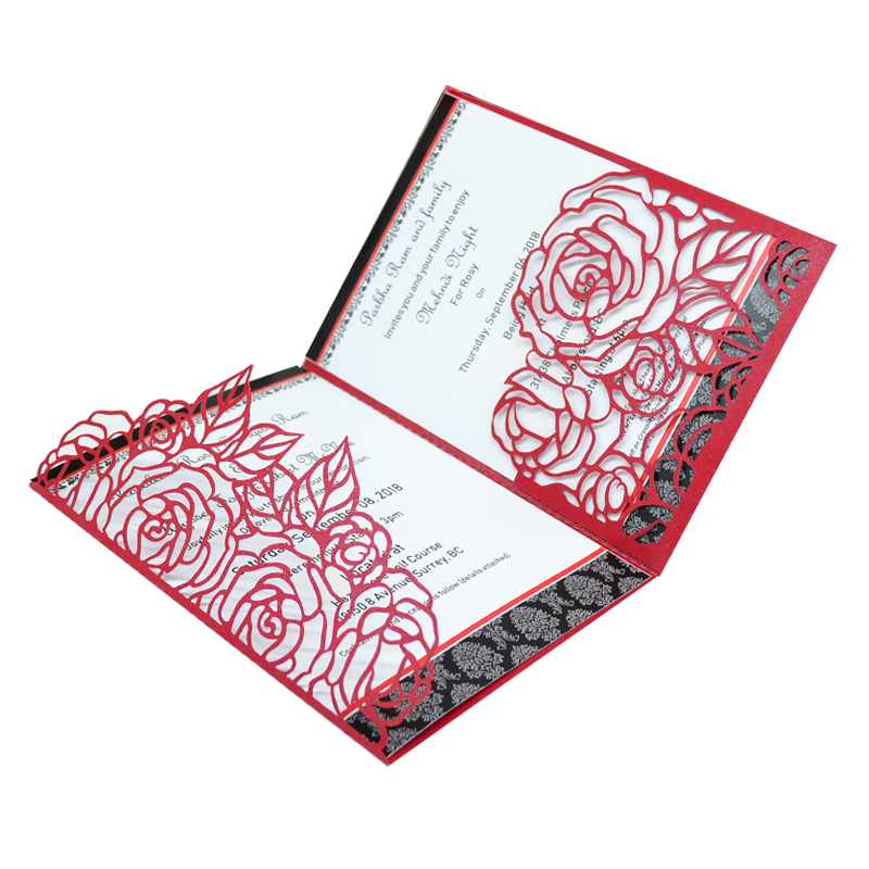 Wedding Invitations Pocket Style: Pocket Card Invitation Wedding Laser Cut Classic Rose