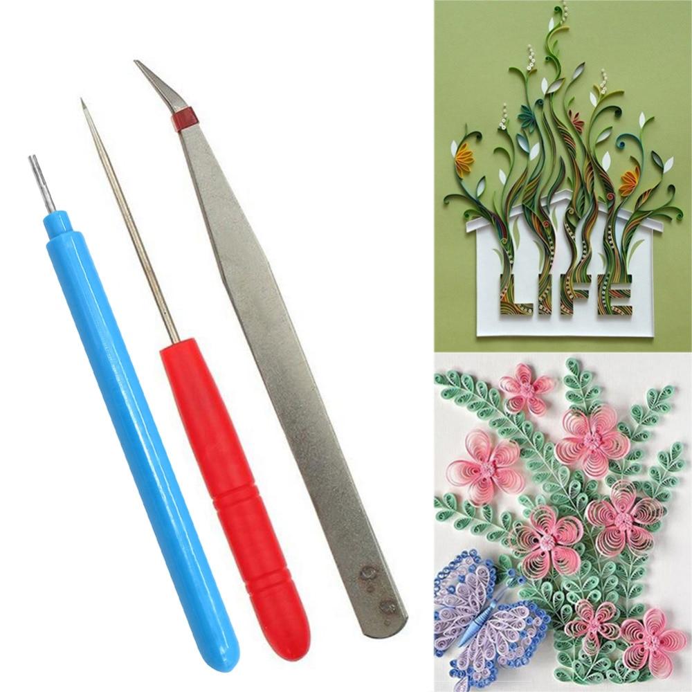 Scrapbook paper aliexpress - 3pcs Set Handmade Kit Flower Diy Paper Quilling Tool Tweezer Slotted Needle Fabric Tools Paper Craft For Kid Scrapbooking Y1