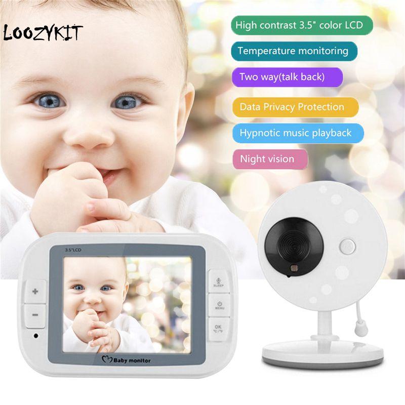 Loozykit 3 5 Inch Wireless Baby Sleeping Monitor Nanny Security Camera Night Vision Temperature Monitoring Audio