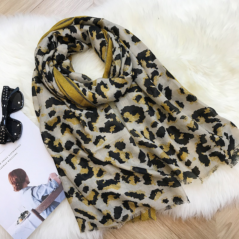 2019 luxury brand Leopard print versatile cotton scarf Beach holiday beach towel female sunscreen shawl Muslim Hijab 180 100cm in Women 39 s Scarves from Apparel Accessories
