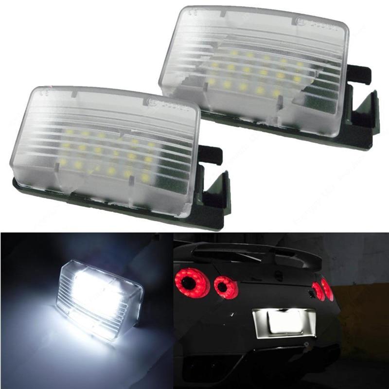 2x White LED License Plate Light Lamps For Nissan 350Z 370Z GTR Infiniti G37 G35
