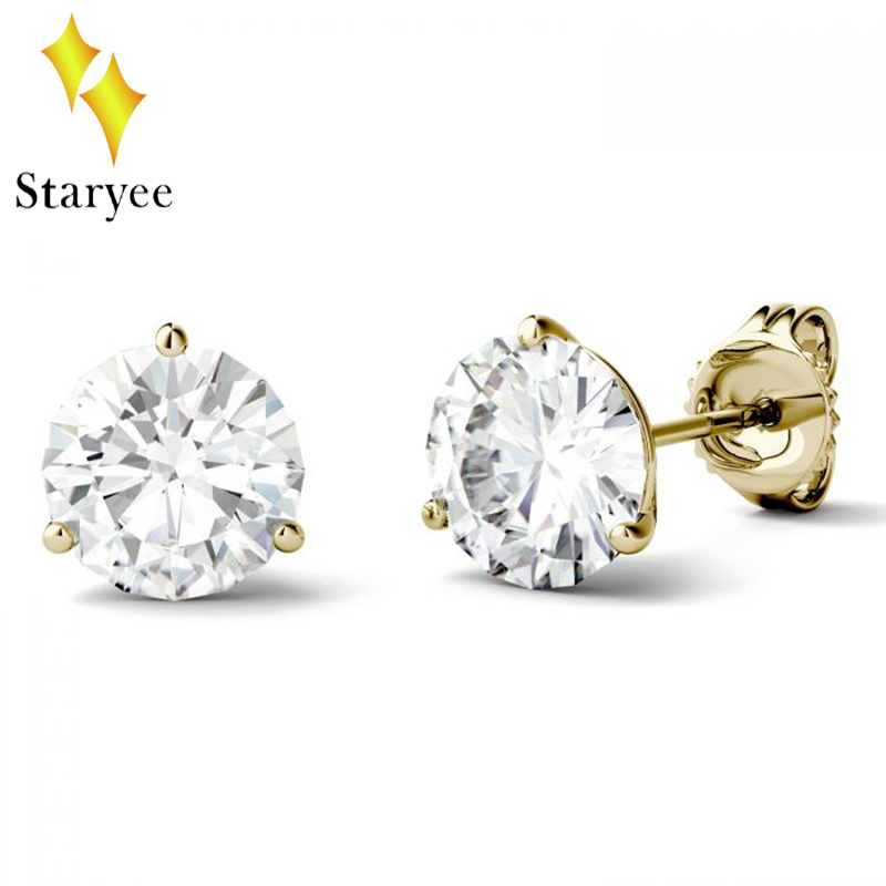 Genuine 18k Yellow Gold Round Moissanite Luxury Three Prong Martini Solitaire Stud Earrings for Women Mother's Day Gift Jewelry yoursfs twisted necklace and dangle stud earrings jewelry set for mother s day with solitaire austria crystal gift 18k white gol