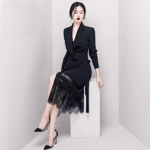 Image 2 - DEAT 2020 Good Morning! Black Lady Of Quality Ol Commute Temperament False Twinset Lace Long Fund Suit Dress WI126