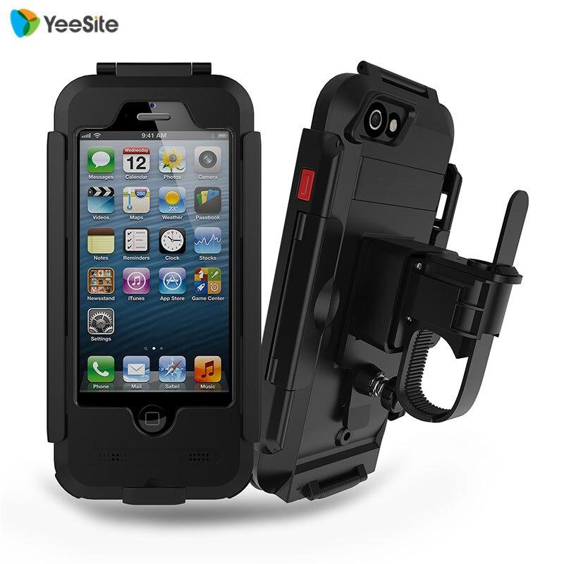 "YeeSite New Waterproof Motorcycle Bike <font><b>Handlebar</b></font> Mount Holder Case for iPhone 5 5s SE 4\"" Outdoor Sport Shockproof Bicycling Case"