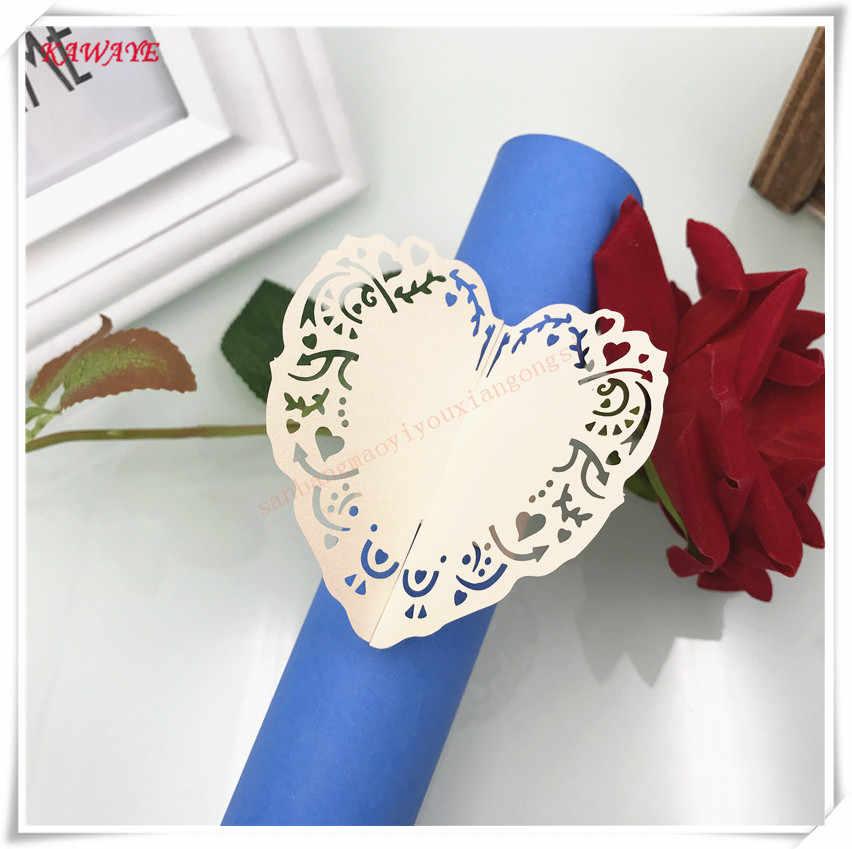 100 sztuk/zestaw laserowo wycinane karty w kształcie serca papierowa serwetka pierścienie Baby Shower dekoracja stołu wesele ręcznik klamra Decor 5ZM04