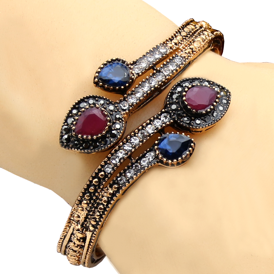 Antique Gold Charm Bracelet: Elegant Women Heart Bracelet Turkish Resin Jewelry Antique