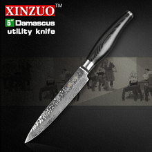 XINZUO 5″inch Damascus kitchen knives utility cutter kitchen tool damascus steel utility knife Multi-purpose knife FREE SHIPPING