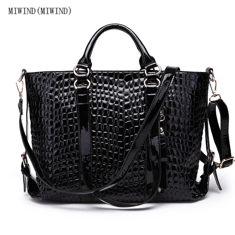 MIWIND(MIWIND)The new crocodile grain female bag leather patent leather laptop b