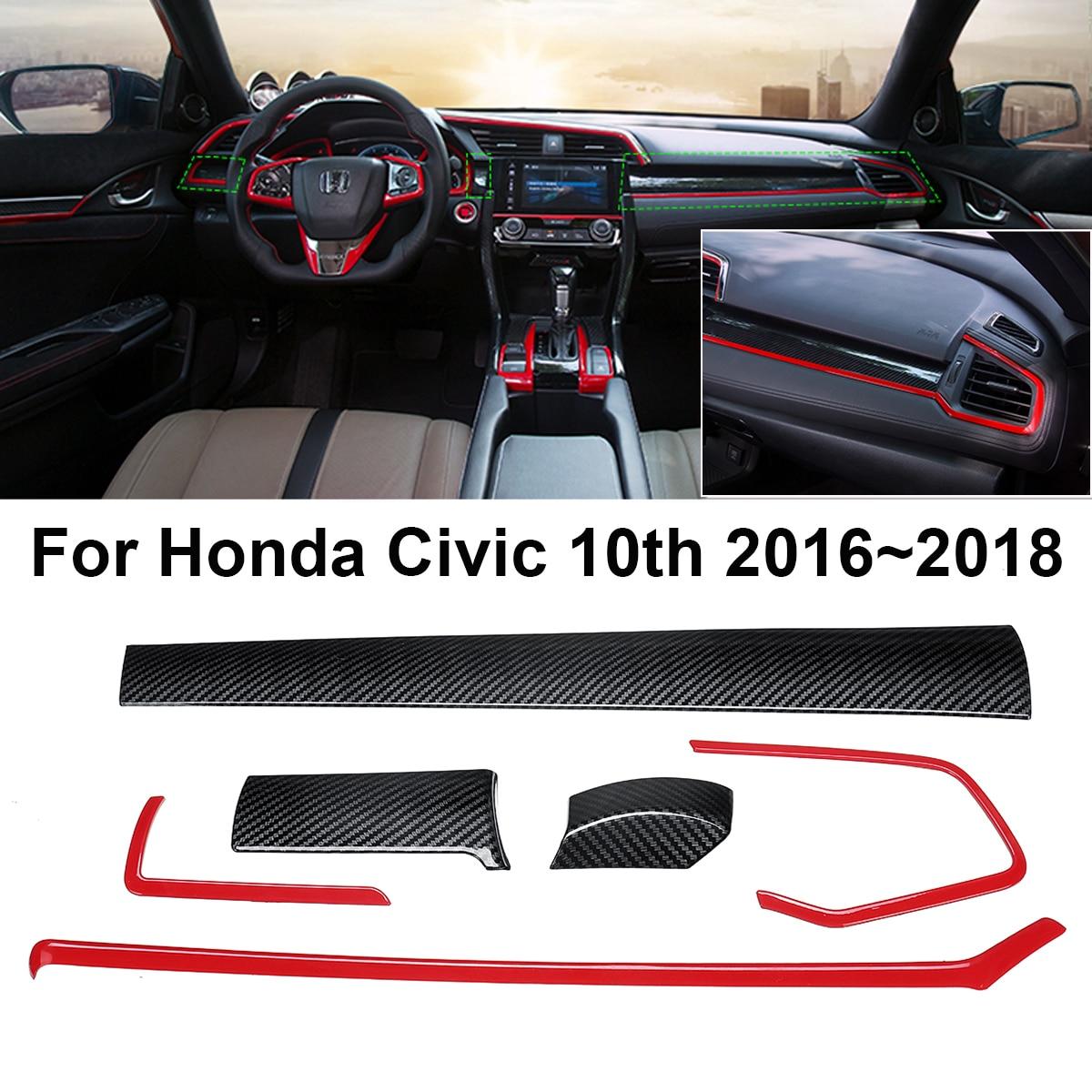 6PCS Carbon Fiber Console Center Dashboard Cover Trims for Honda Civ ic 10th 2016 2017 Carbon Fiber Style Interior Mouldings yandex w205 amg style carbon fiber rear spoiler for benz w205 c200 c250 c300 c350 4door 2015 2016 2017