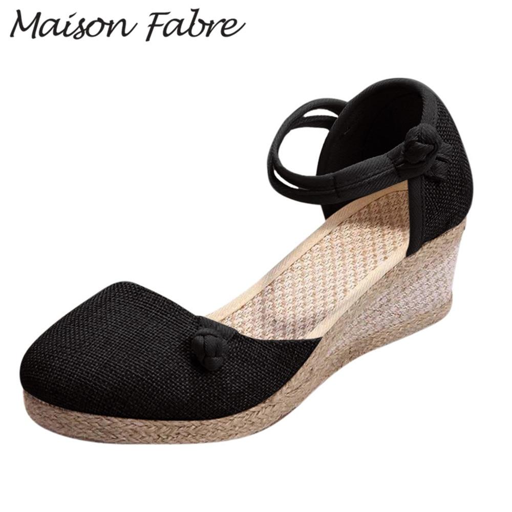 SAGACE Wedge Shoes Sandals Pumps Ankle-Strap 5cm-Heels Women Hemp Rubber