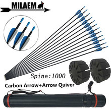 12pcs 32inch Archery Mix Carbon Arrow With Quiver ID4.2mm OD6mm Spine1000 Comound/Recurve Bow Outdoor Shooting Accessories