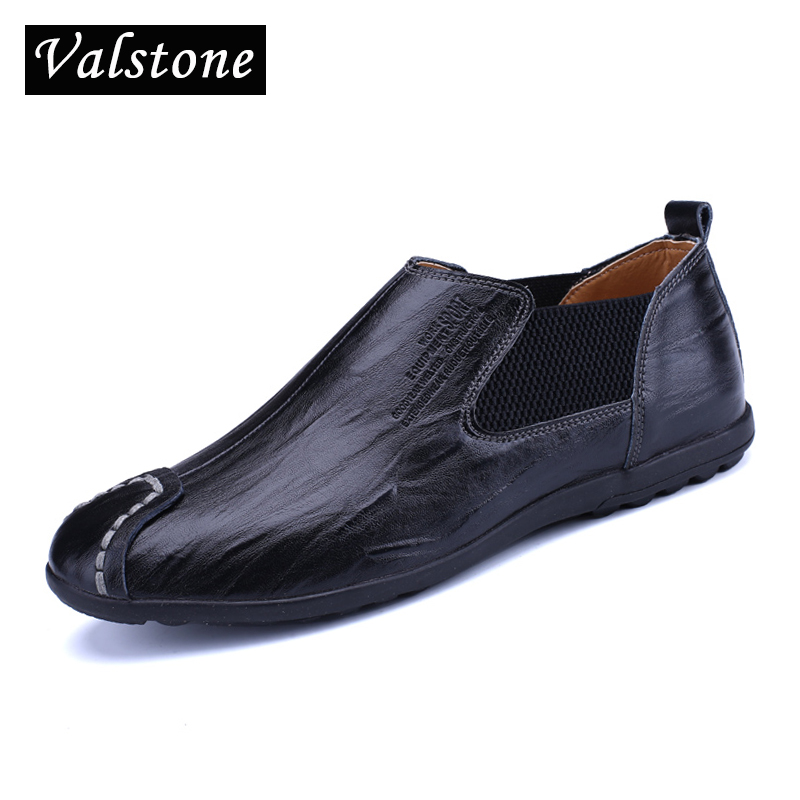 Valstone Brand NEW superior Leather daily Shoes Men soft comfortable Loafers moccasins slip-on flats elastic band black sizes 44 цена