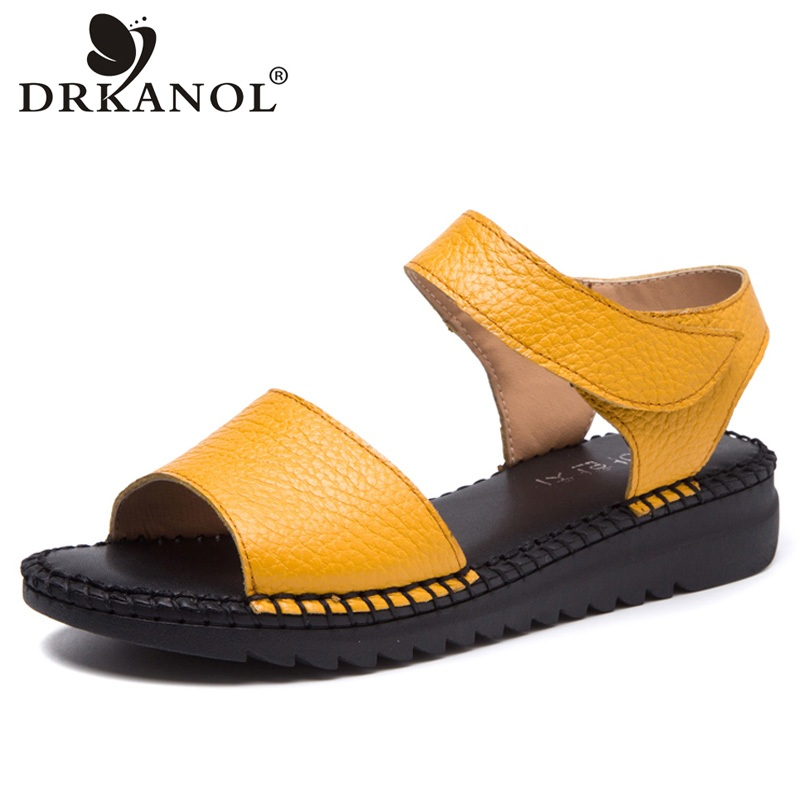 DRKANOL 2018 New Arrival Open Toe Women Sandals Summer Handmade Retro Soft Genuine Leather Women Flat Sandals Hook Loop Shoes xiuteng summer flat with shoes woman genuine leather soft outsole open toe sandals flat women shoes 2018 fashion women sandals