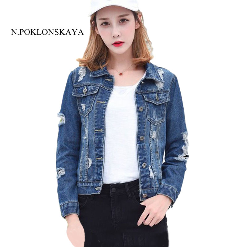 Autumn Vintage Jeans Jackets Long Sleeve Frayed Denim bomber Jacket Casual Female Coat womens jackets and coats chaqueta mujer