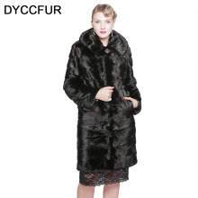DYCCFUR 100cm long real mink fur coat with hood winter warm Genuine detachable fur coats clothes women natural black fur coats