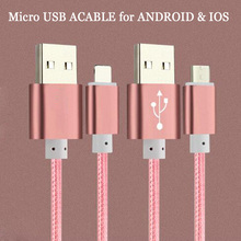 1m 1.2m 1.5m Nylon Line Fast Micro USB Cable For iPhone All Series Samsung Xiaomi LG Mobile Phone Mini Metal Plug Data Charger