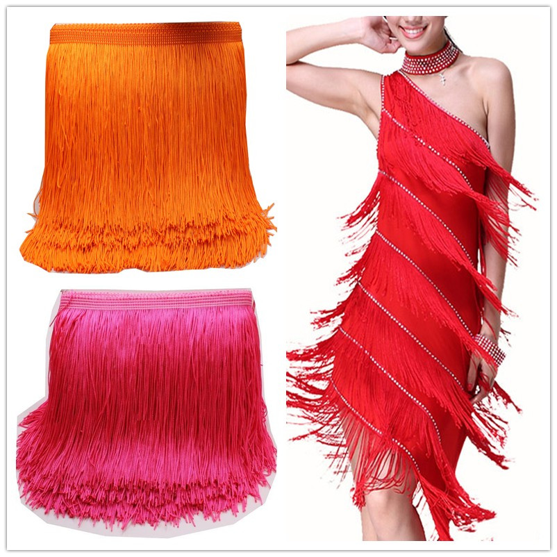 5 Yards / Lot Latin Fringe Tassel Lace Samba Dans Klänning Macrame Single Banded Trimming Lace Polyester 14cm-29cm lång