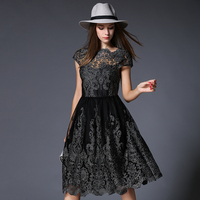 Vintage Women Black Dresses Short Sleeves Floral Embroidery Vestido Mujer High Waist Red Mesh Dress Feminine Plus Size Robe N618